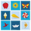 Origami summer symbols (blue background) — Stock Vector