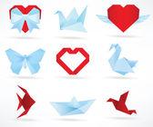 Origami animals & love symbols — Vecteur