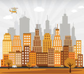 City in autumn — Stock Vector
