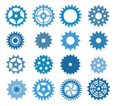 Simple vector tooth wheels (blue) — Stock Vector