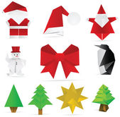 Christmas origami decoration — Stock Vector