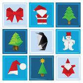Christmas origami decoration — Stock Vector