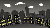 Village in the night — Stock Vector