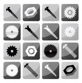 Vector industrial buttons (tooth wheels, screws, circular saw) — Stock Vector