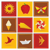 Origami sommaren symboler — Stockvektor