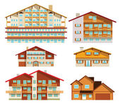 Alpine hotels & houses — Stock Vector