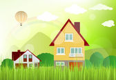Landscape with houses — Stock Vector