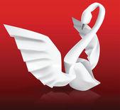 Swan origami — Vecteur