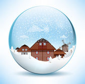 Christmas Sphere - Old Village — Stock Vector