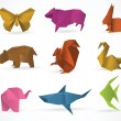 Origami animals — Stockvectorbeeld