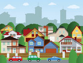 Suburban houses — Stock Vector