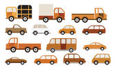 Cars collection (retro colors) — Stock Vector