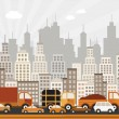 Stock Vector: Traffic jam in city