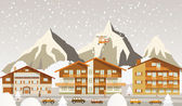 The tourist center in the Alps (winter) — Stock Vector