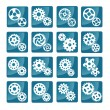 Vector cog icons (blue) — Stock Vector
