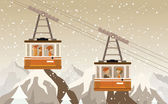 Cable railway in the mountains (retro colors) — Cтоковый вектор