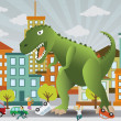 Stock Vector: Dinosaur is attacking city