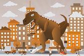 Dinosaurier ist die Stadt anzugreifen — Stockvektor