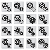 Vector cog icons (black & white) — Stock Vector