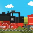 Steam locomotive with wagon — Stock Vector