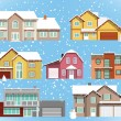 Stock Vector: Snow covered city houses (Christmas)