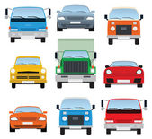 車のコレクション (フロント ビュー) — ストックベクタ