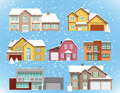 Snow covered city houses (Christmas) — Stock Vector