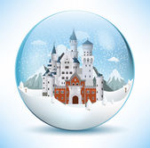 Fairytale castle in the glass sphere — Stock Vector