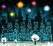 Night city and fireworks (New Year celebration) — Stock Vector