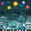 Night city and fireworks — Stock Vector