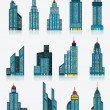 Skyscraper icons (blue) — Stock Vector