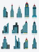 Skyscraper icons (blue) — Stock Vector