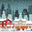 Stock Vector: City in winter (Christmas)