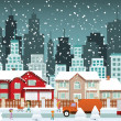 City in winter (Christmas) — Stock Vector