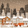 Stock Vector: City in winter (Christmas scenery)