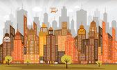 Ciudad en otoño — Vector de stock