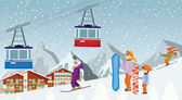 Skiing and snowboarding in the mountains — Stock Vector