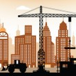 Stock Vector: Making new building in city