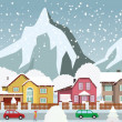Small town in the Alps — Stock Vector