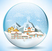 Christmas sphere with houses — Stock Vector