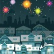 Stock Vector: Night city and fireworks