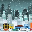 Traffic jam in the city (Winter) — Stock Vector #38010241