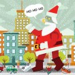 Giant Santa Claus is attacking the city — Stock Vector