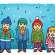 Children singing carols — Stock Vector