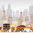 Traffic jam in the city (Winter) — Stock Vector
