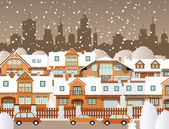 Winter in the city — Stock Vector