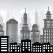 Stock Vector: Cityscape (black & white)