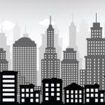 Cityscape (black & white) — Stock Vector