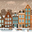 Dutch town in winter — Stock Vector