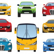 Cars collection (front view) — Stock Vector